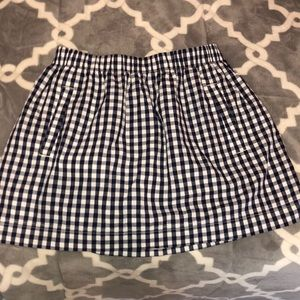 Navy Gingham J Crew Skirt